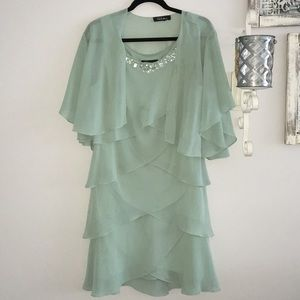 Teal Slip Over Dress with Shall